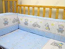 """Детское постельное белье в кроватку """"Карапуз"""" комплект 7 ед. (мишка игрушки голубой), фото 3"""