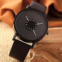 Женские и Мужские часы  кожаный ремешок (Чёрный ремешок чёрный циферблат)