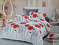 Сатиновое постельное белье евро ELWAY 5019 «Цветы маки»