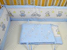 Бортики в детскую кроватку защита со съемными чехлами Мишка игрушки голубой, фото 3