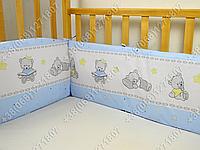 Бортики в детскую кроватку защита со съемными чехлами Мишка игрушки голубой