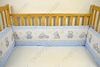 Бортики в детскую кроватку защита бампер Мишка игрушки голубой