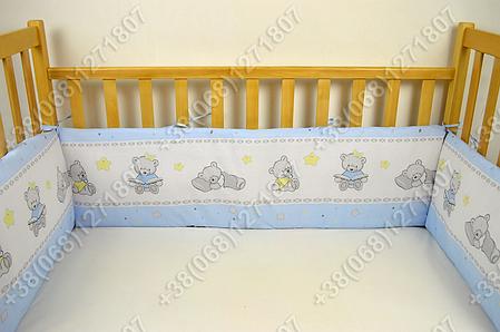 Бортики в детскую кроватку защита бампер Мишка игрушки голубой, фото 2