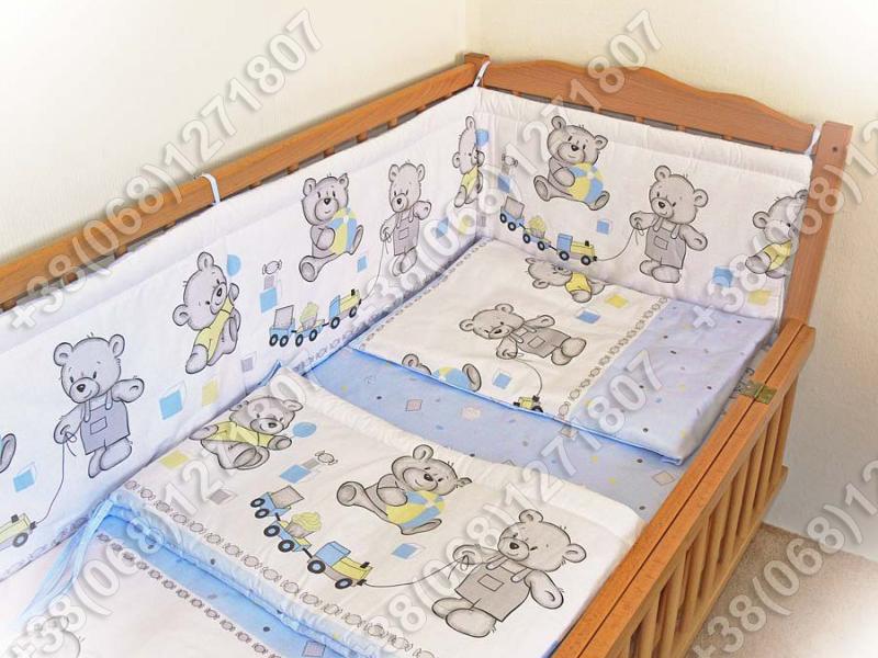 """Детское постельное белье в кроватку """"Бим Бом"""" комплект 5 ед. (мишка игрушки голубой)"""
