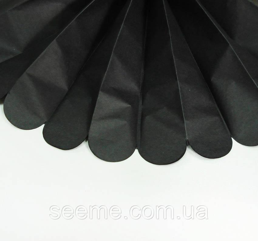 Бумажные помпоны из тишью «Black», диаметр 25 см.