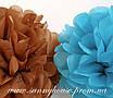 Бумажные помпоны из тишью «Aquamarine», диаметр 25 см., фото 3