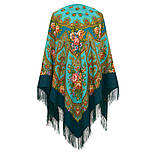 Венский вальс 1121-12, павлопосадский платок шерстяной  с шелковой бахромой, фото 5