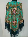 Венский вальс 1121-12, павлопосадский платок шерстяной  с шелковой бахромой, фото 6