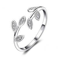 """Женское серебряное кольцо 1,4 грамма 925 пробы с кристаллами циркония """"Olive branch"""", с регулируемым размером, фото 1"""