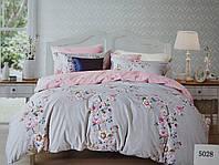 Сатиновое постельное белье евро ELWAY 5028 «Цветочная феерия»