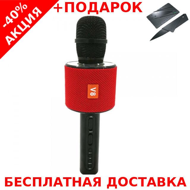 Микрофон с функцией караоке JBL V8 Red Karaoke Charge Original size + нож-визитка