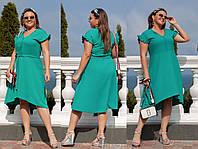 Платье летнее с коротким рукавом однотонное Большого размера