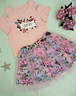 Комплект на дівчинку (спідниця+кофта), розмір 110, рожевий+бузковий