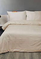 Постельное белье Lotus Сатин Страйп бежевый 1*1 евро размер (Турция)