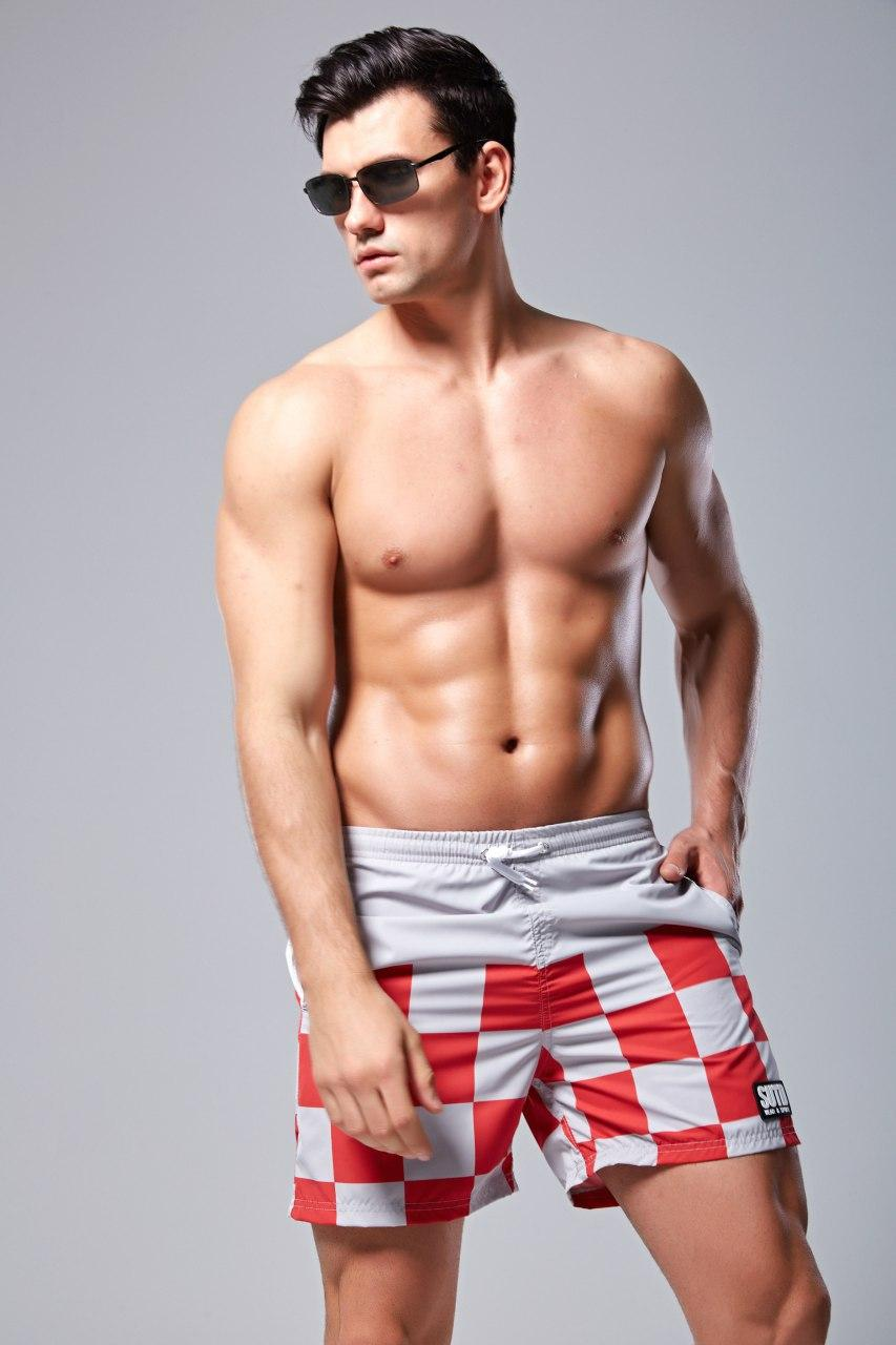 Мужские Шорты SUTD Серые с Красным, пляжные (Сетка, карманы) \чоловічі шорти плавання купання червоні