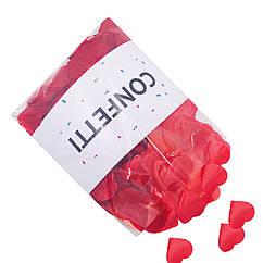 Конфетти красные Cердечки 250 г большие