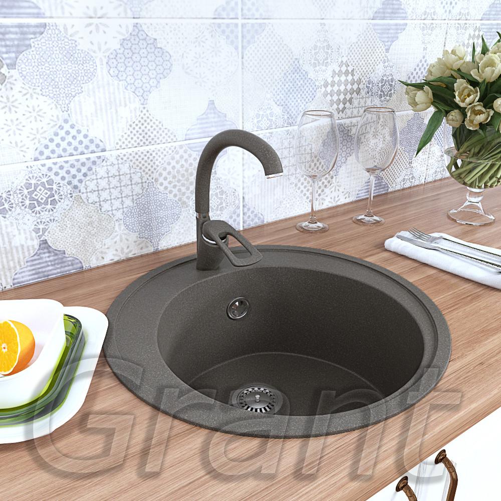 Круглая врезная мойка для кухни Grant Crystal серая