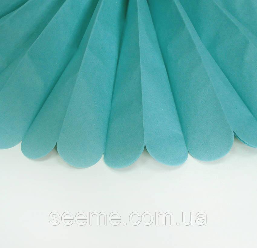 Бумажные помпоны из тишью «Carribean Teal», диаметр 25 см.