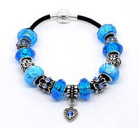 Браслет Pandora  (Пандора). Красивые голубые шармы.