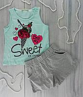 Комплект для девочек. Майка + шорты Мороженое Голубой Хлопок Breeze Турция