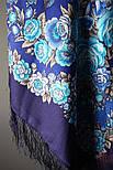 Признание 1462-14, павлопосадский платок шерстяной  с шелковой бахромой, фото 7