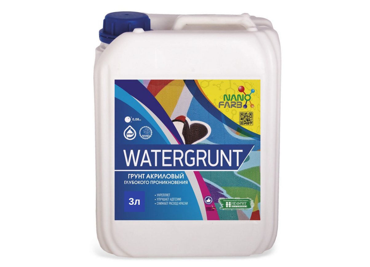 Грунт глубокого проникновения Nanofarb Watergrunt 3л