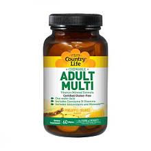 Мультивитамины для Взрослых, Вкус Ананаса, Adult Multi, Country Life, 60 жевательных таблеток