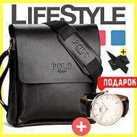 Стильная брендовая мужская кожаная сумка Polo Videng! + Подарок