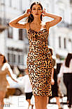 Облегающее леопардовое платье на тонких бретельках, фото 3