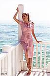 Легкое платье-рубашка длины миди розовое, фото 2