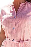 Легкое платье-рубашка длины миди розовое, фото 3