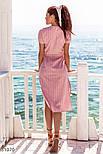 Легкое платье-рубашка длины миди розовое, фото 4