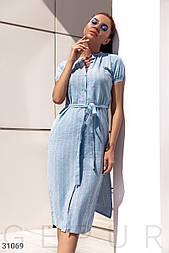 Легкое платье-рубашка длины миди голубое