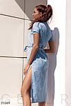 Легкое платье-рубашка длины миди голубое, фото 2