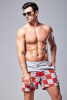Мужские Шорты SUTD Сине-желтые, пляжные (Сетка, карманы) \чоловічі шорти плавання купання сині, фото 3
