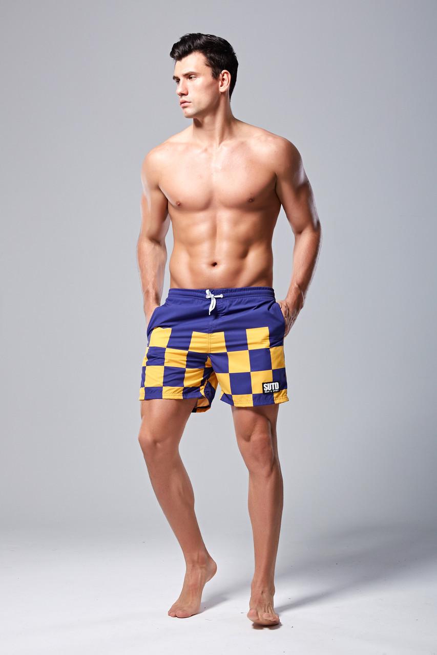 Мужские Шорты SUTD Сине-желтые, пляжные (Сетка, карманы) \чоловічі шорти плавання купання сині