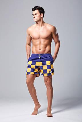 Мужские Шорты SUTD Сине-желтые, пляжные (Сетка, карманы) \чоловічі шорти плавання купання сині, фото 2