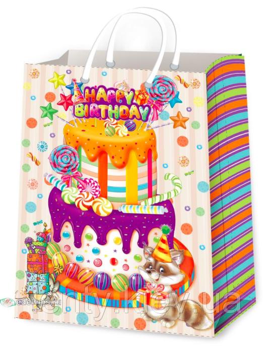 """Подарочный пакет Универсальный """"Торт, Happy Birthday"""" 44 х 32 х 11 см"""