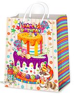 """Подарунковий пакет Універсальний """"Торт, Happy Birthday"""" 44 х 32 х 11 см"""