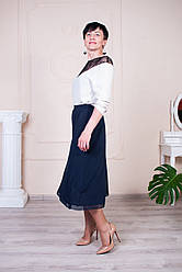 Женская юбка на резинке синего цвета Годе №8 ле19