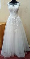 69.2 Белое свадебное платье с кружевом и блестящей юбкой на корсе,  размер 46