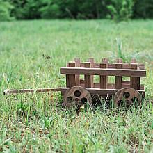 Тележка деревянная для цветов 30 см D9003 декоративная