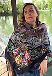 Майя 372-15, павлопосадский платок (шаль) из уплотненной шерсти с шелковой вязанной бахромой, фото 7