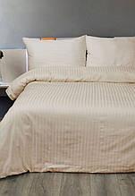 Постельное белье Lotus Сатин Страйп бежевое 1*1 полуторный размер (Турция)