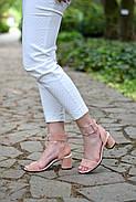 Женские босоножки Atomio Lardini из натуральной замши на каблуке пудра, фото 5