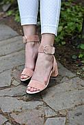 Женские босоножки Atomio Lardini из натуральной замши на каблуке пудра, фото 7