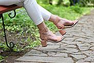 Женские босоножки Atomio Lardini из натуральной замши на каблуке пудра, фото 10
