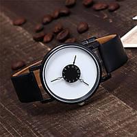 Женские и Мужские часы  кожаный ремешок (Чёрный ремешок белый циферблат)