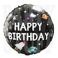 Фольгированный шар Космос С днем рождения Китай, 45*45 см (18')