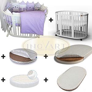 Набор: кроватка трансформер 9-в-1 белая+ 2 матраса + 2 наматрасника + постельный комплект ТМ IngVart